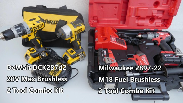 Milwaukee 2897-22 v DeWalt DCK287D2 2 Tool Kits Comparison Competition