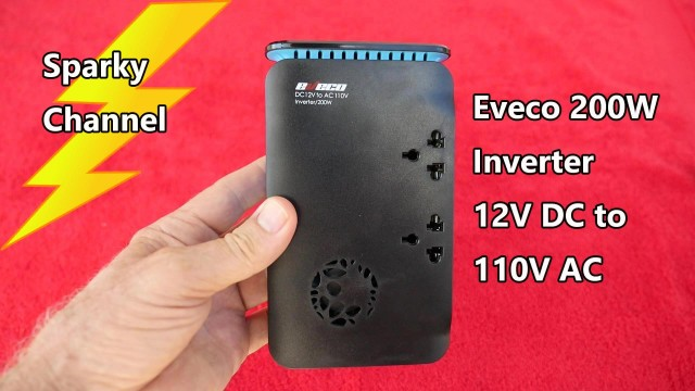 Eveco 200w Car Inverter 12V DC to 120V AC Review and Demonstration