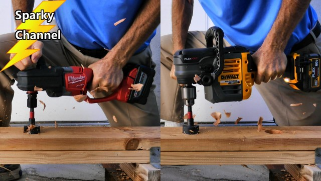 DeWalt 60V MAX Drill vs Milwaukee Hole Hawg with 9.0ah Battery Epic Battle